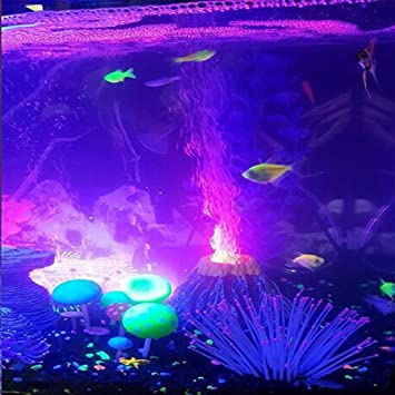 Better F - Figura decorativa para acuario, diseño de volcán con luces LED de colores