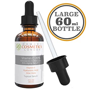 Vitamin C Serum for Face + Hyaluronic Acid + Vitamin E + Aloe Vera , 2oz (60ml) Clinical Strenth 20% Vitamin C Serum With Hyaluronic Acid: Camden Cosmetics London Is The Most Recommended Anti Ageing Serum for Increased Collagen Production and Less Fine Lines, Dark Spots & Wrinkles - 98% Natural Age Defying Serum with Organic Clinical Strength 20% Vitamin C + Moisturiser - Vitamin C Serum Vegan - Vitamin C Serum for Acne and Scars - for Men and Women - 100% Satisfaction GUARANTEED