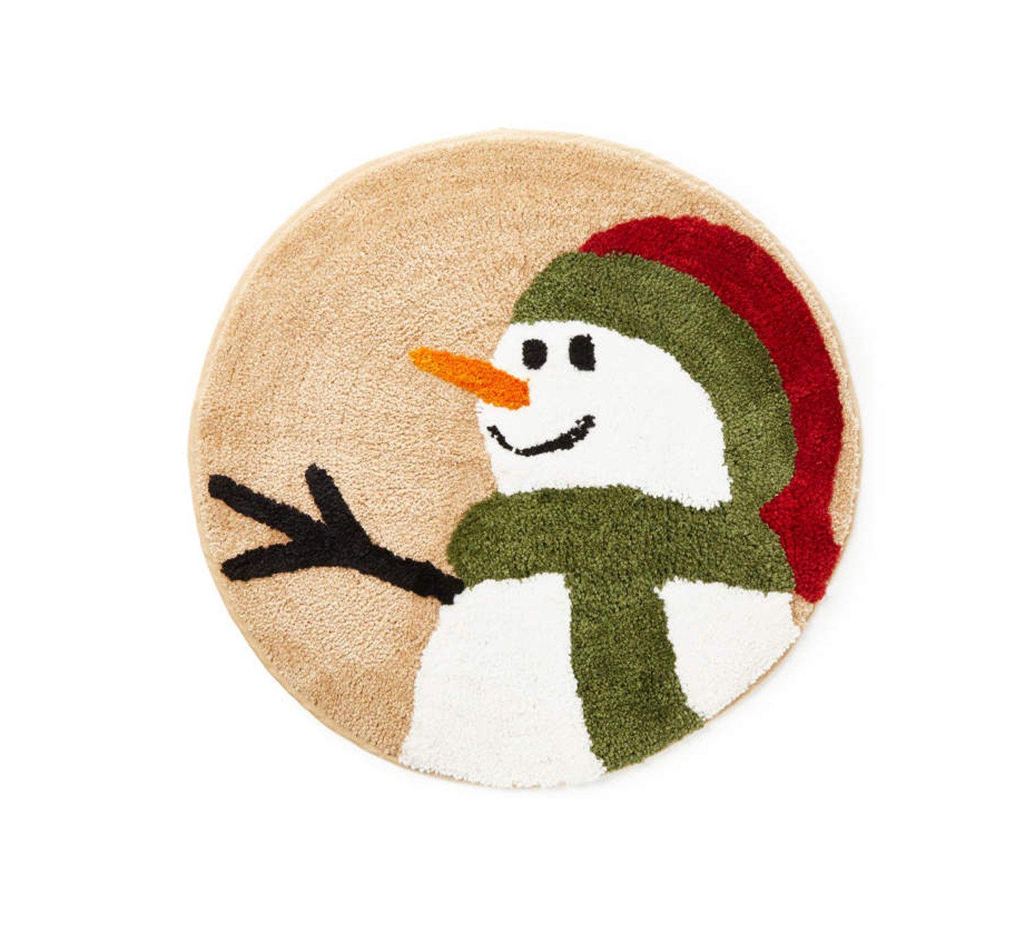 Winter Wonder Lane Rustic Snowman Land Bathroom Rug Plush 25 Inches Round