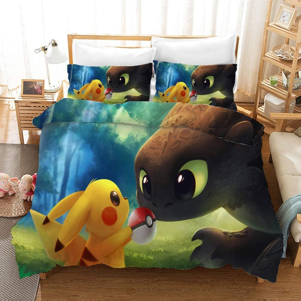 Pokemon: pikachu 3D Print Household Otaku and Anime Fan Bedding Sets, Japanese Anime Characters 3Pcs Duvet Cover Sets, for Home Teens Children's Room 1 Quilt Cover & 2 Pillowcases ( Color : US Twin )