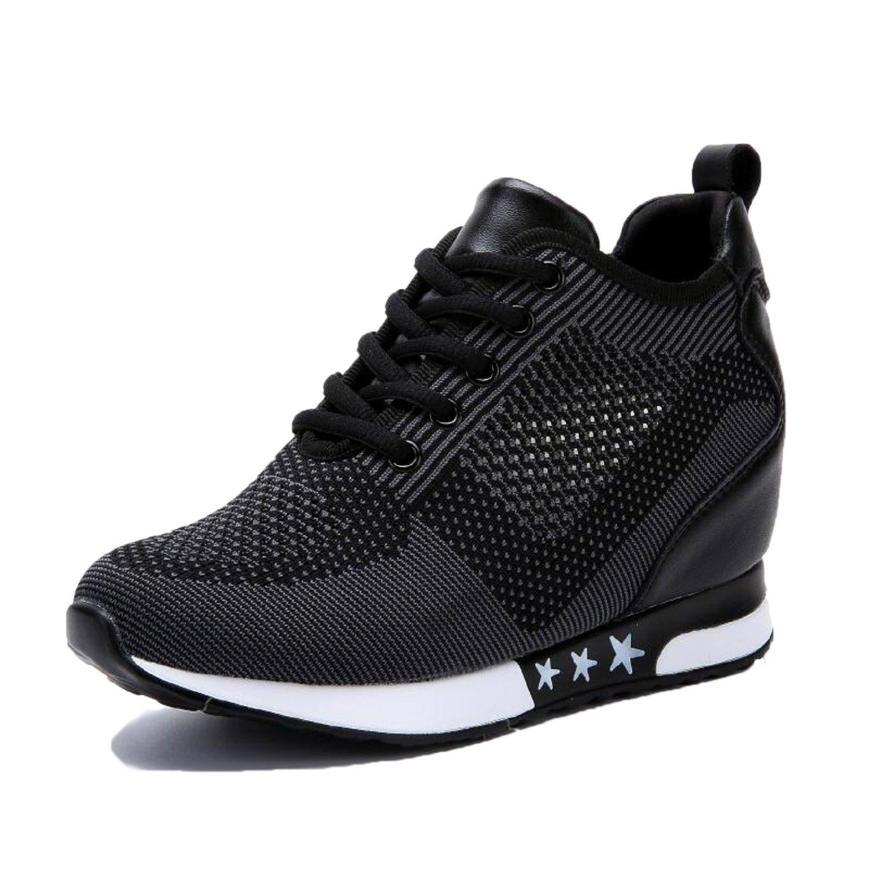 TQGOLD Women Hidden Wedges High Heels Sneaker Elevator Shoes High Top Height Increase(Size 37,Black)