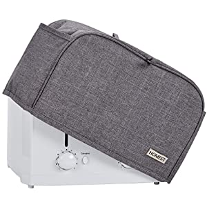 HOMEST 4 Slice Toaster Cover with Pockets, Can Hold Jam Spreader Knife & Toaster Tongs, Dust and Fingerprint Protection, Machine Washable, Grey