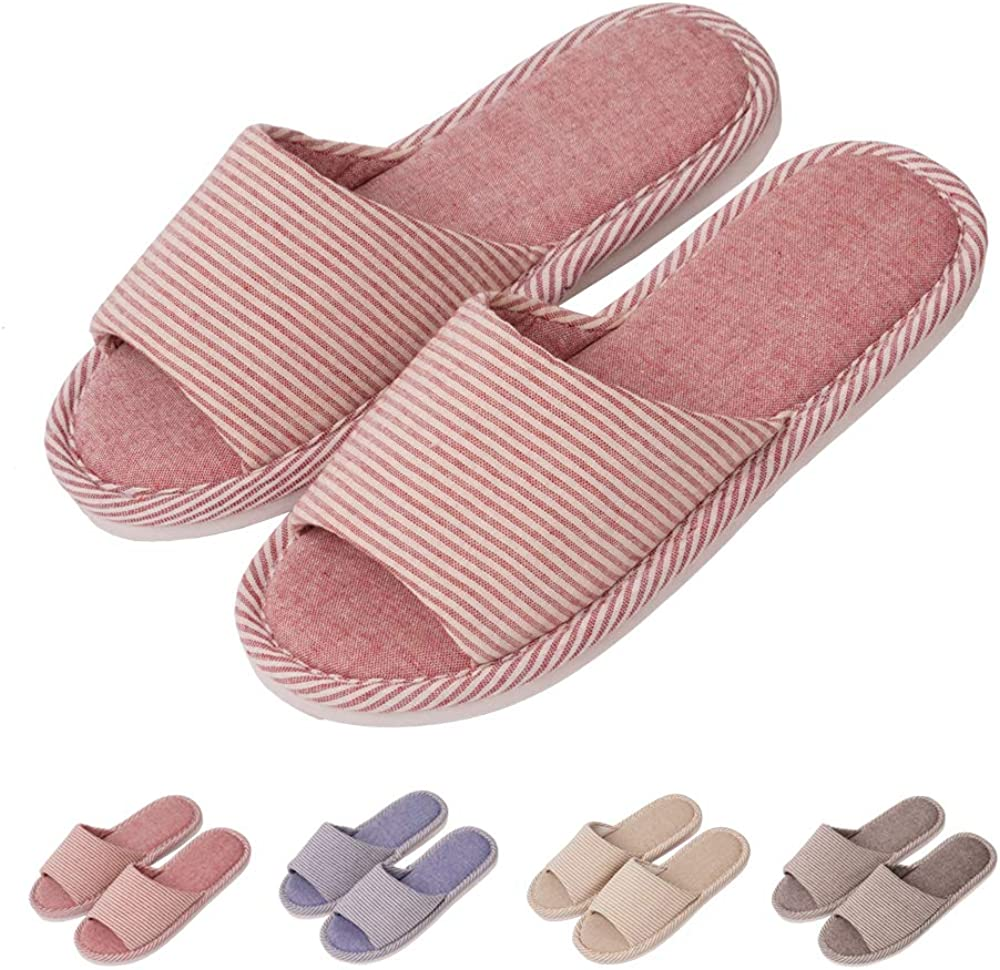 GaraTia Open Toe Slippers Indoor Soft Striped Memory Foam Cotton Washable for Men and Women