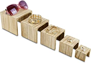 Mooca 5 Pieces Wooden Multi Functions Jewelry Display Stands, Figurine Stand Risers, Retail Display Risers, 3 7/8