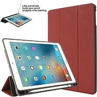 iPad 9.72018Funda con Soporte para lápiz de negocios Slim Smart Funda protectora con Trifold soporte Auto Sleep/Wake para Apple iPad sexta generación (A1893/a1954), rojo vino, For iPad 9.7 2018(iPad 6)