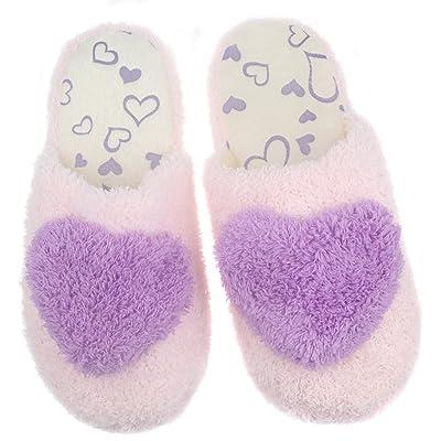 Women Plush Slip On Closed Toe House Slippers Home Floor Shoes Non-Slip Sole