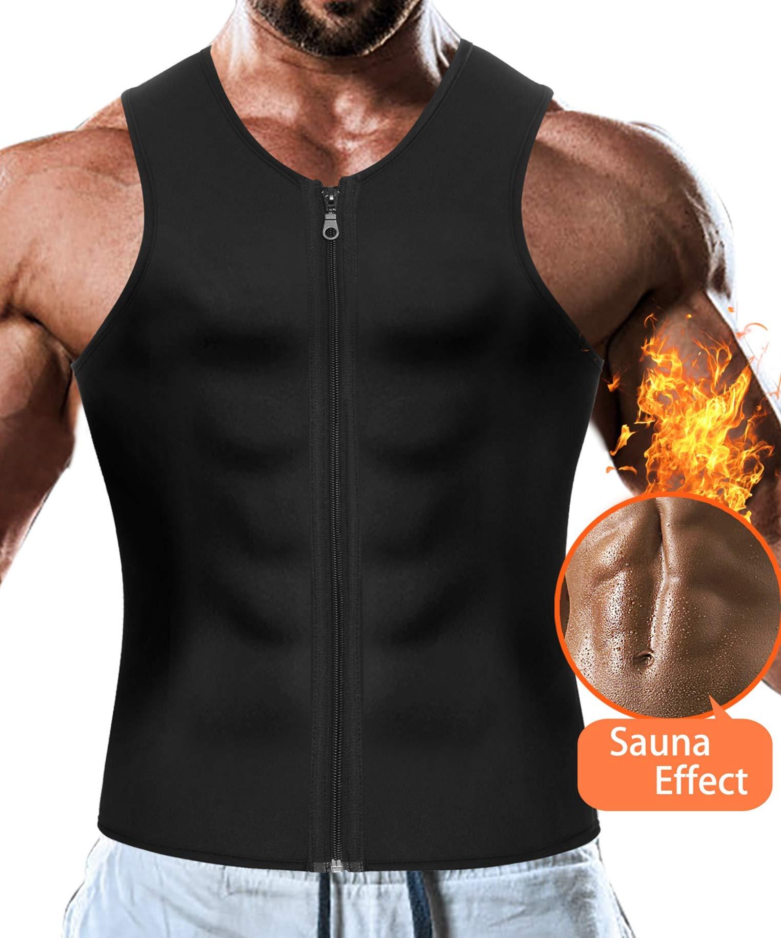 7cc6b95430 Men Waist Trainer Vest for Weight Loss Hot Neoprene Corset Body Shaper  Zipper Sauna Tank Top Workout Shirt
