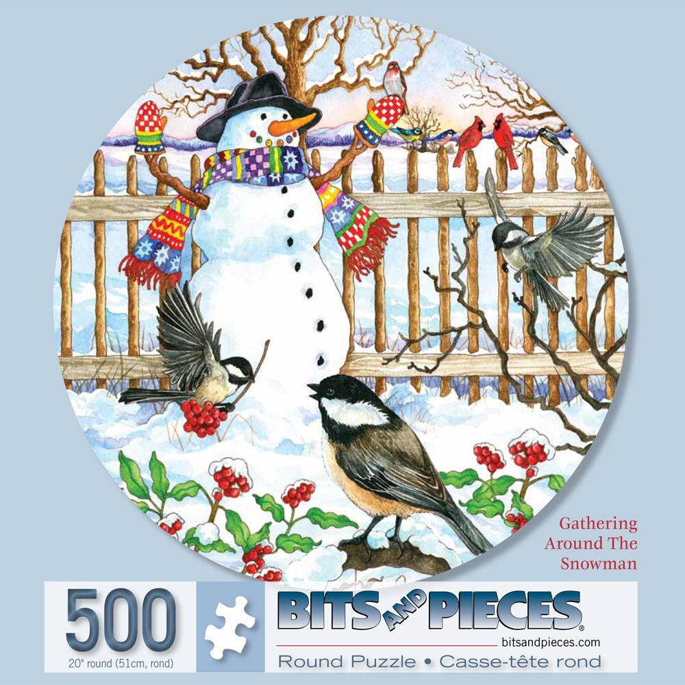 Bits and Pieces - 500 Piece Round Jigsaw Puzzle for Adults - Gathering Around the Snowman - 500 pc Holiday Winter Scene Round Jigsaw by Artist Wendy Edelson
