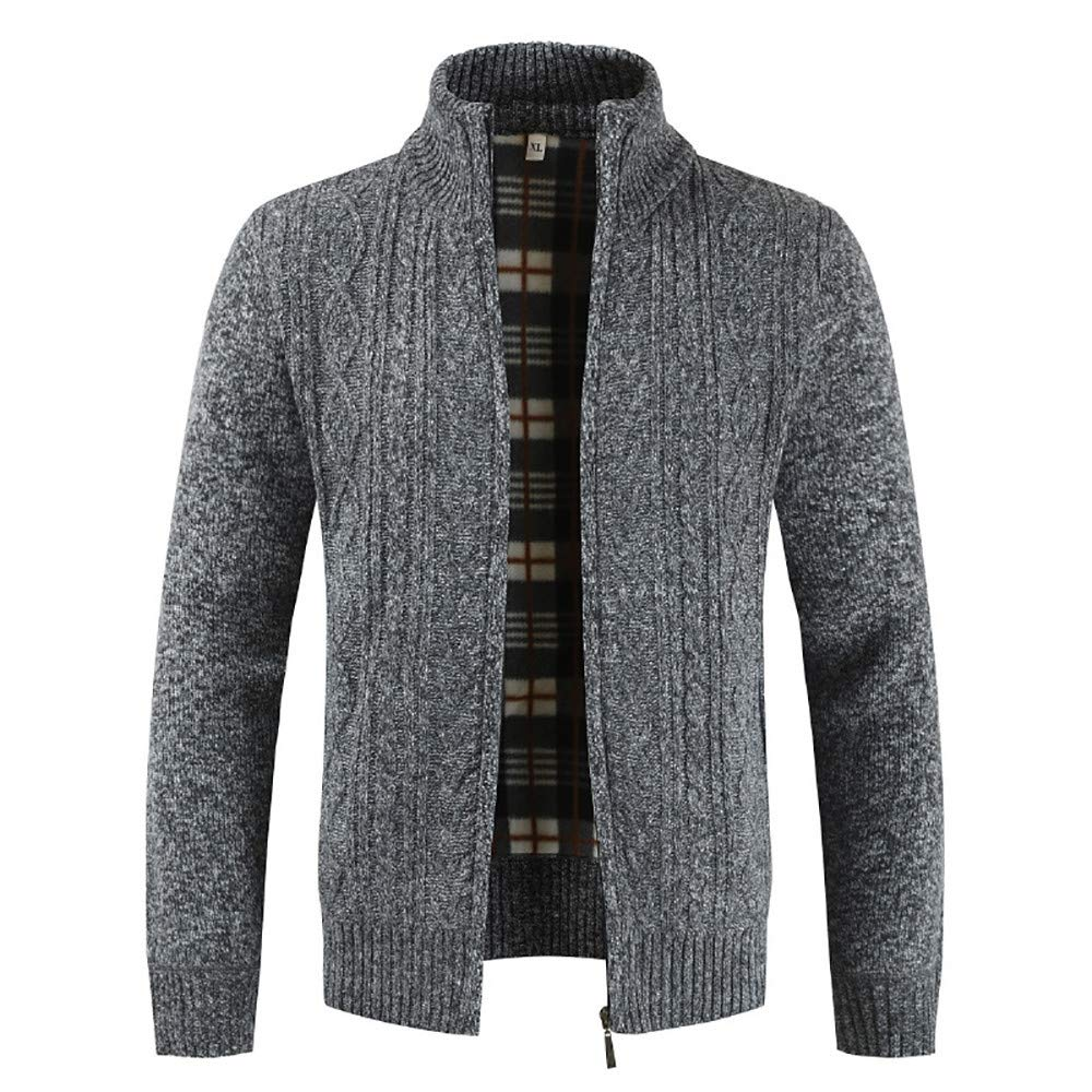XL, Blue Daoroka Mens Jacket Men/'s Autumn Winter Zipper Outwear Tops Solid Stand Collar Sweater Cardigan Coats