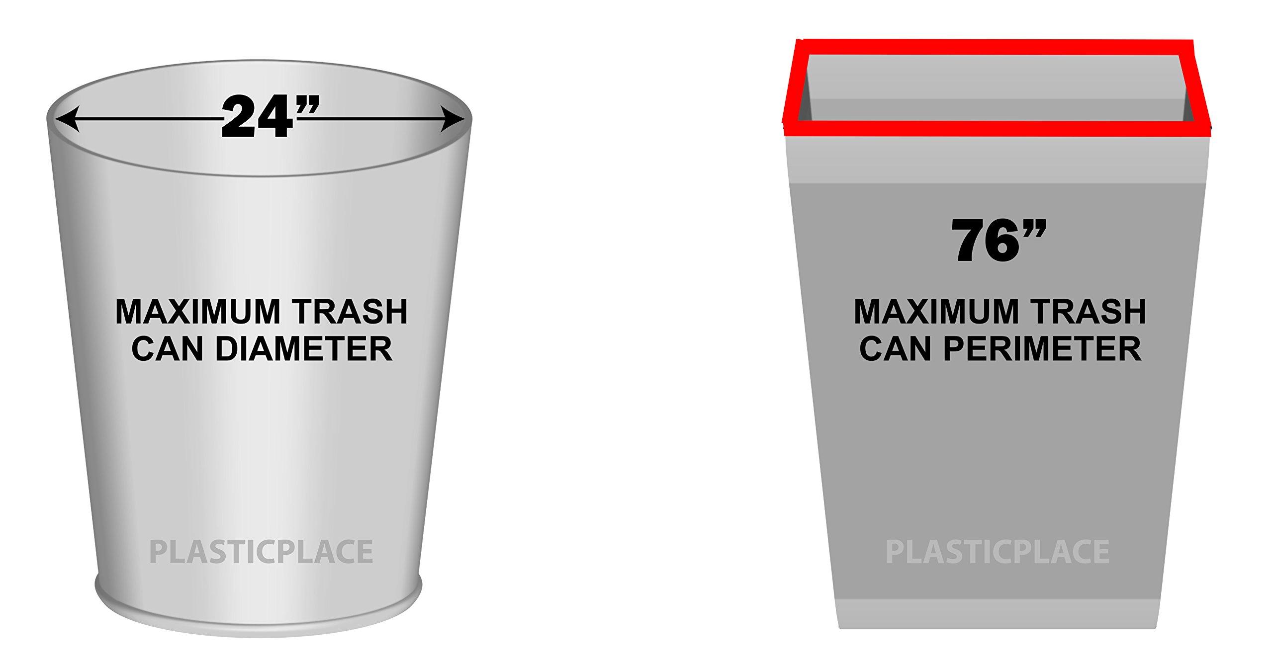 Plasticplace 55-60 Gallon Trash Bags, 38W x 58H, 1.2 Mil, Black, 100/Case