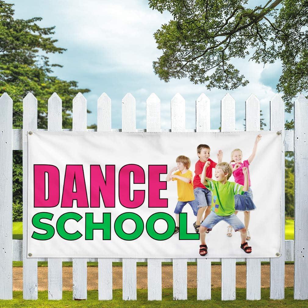 Vinyl Banner Multiple Sizes Dance School Outdoor Advertising Printing Business Outdoor Weatherproof Industrial Yard Signs 8 Grommets 48x96Inches