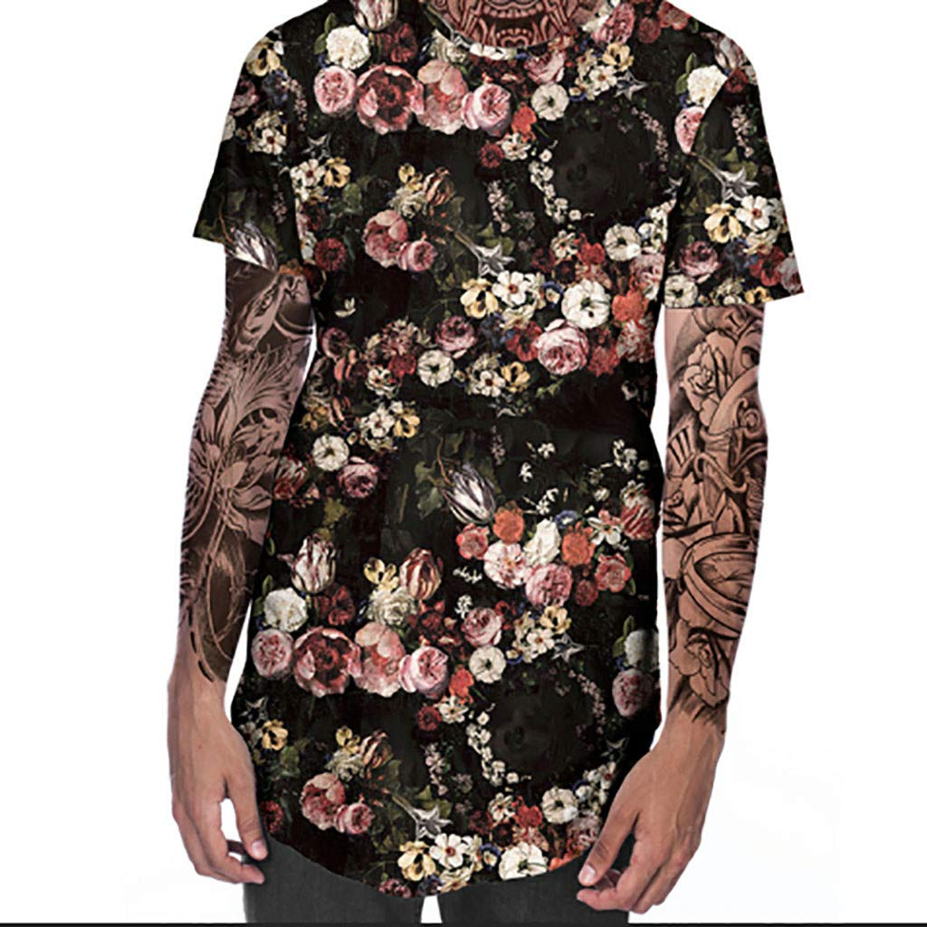Eoeth Mens Mandatory New Summer T-Shirt with Round Neck Short Sleeve Flower 3D Printed Top