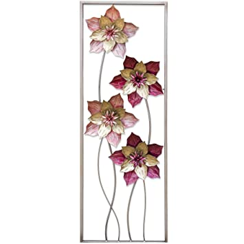 The Shawbury Pink Flowers Metal Wall Art Amazon Co Uk Garden