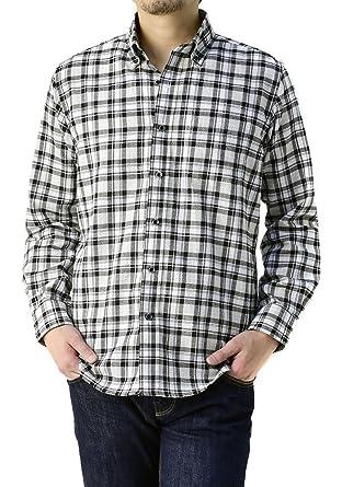 Amazon   (フラグオンクルー) FLAG ON CREW ドレスシャツ 長袖 メンズ モノトーン ボタンダウン/A9I/LL 19・白チェック    シャツ・ワイシャツ 通販