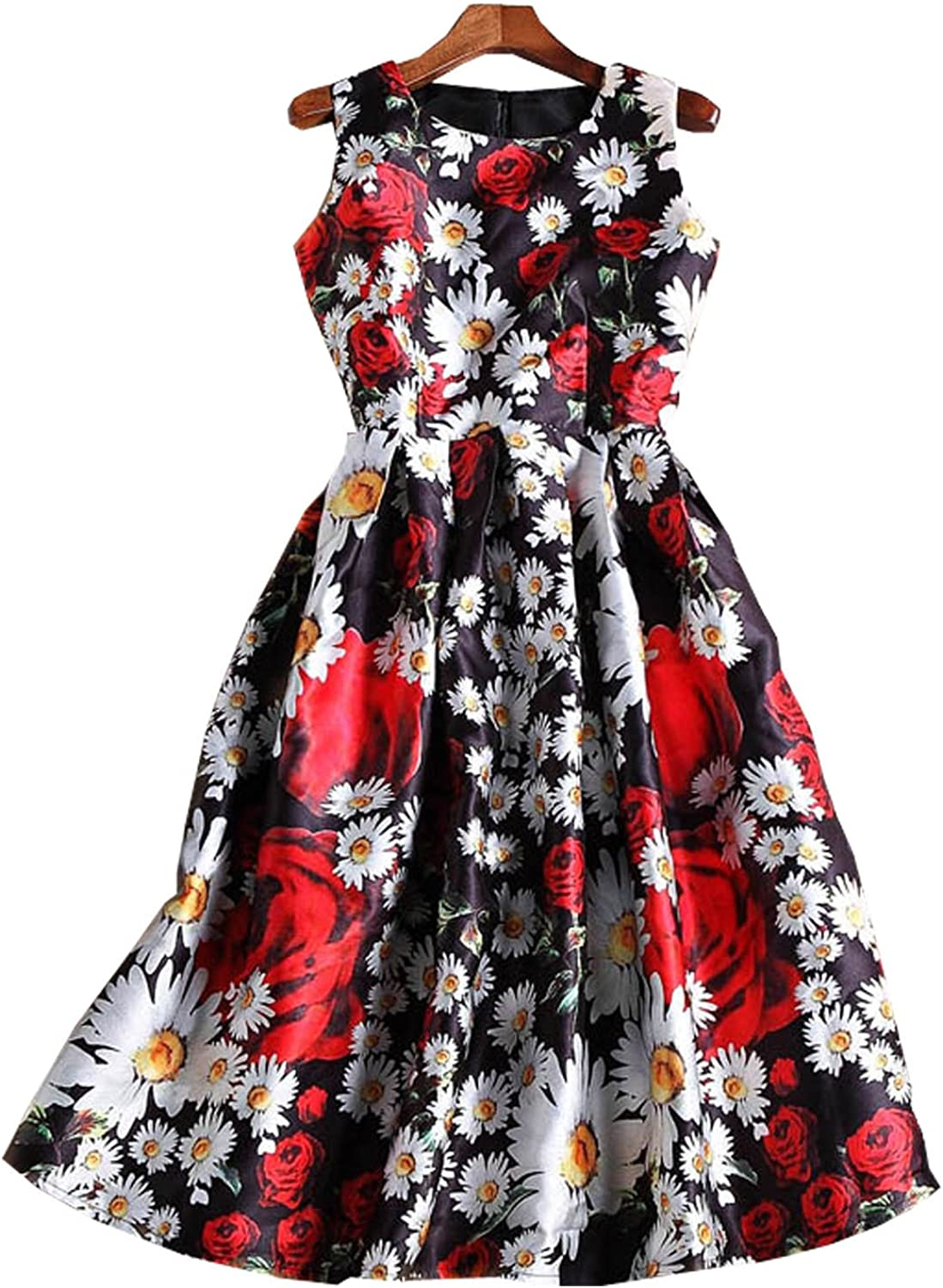 Newdeve Scoop Sleeveless Printing Mid-Calf Rose-Red Evening Gowns