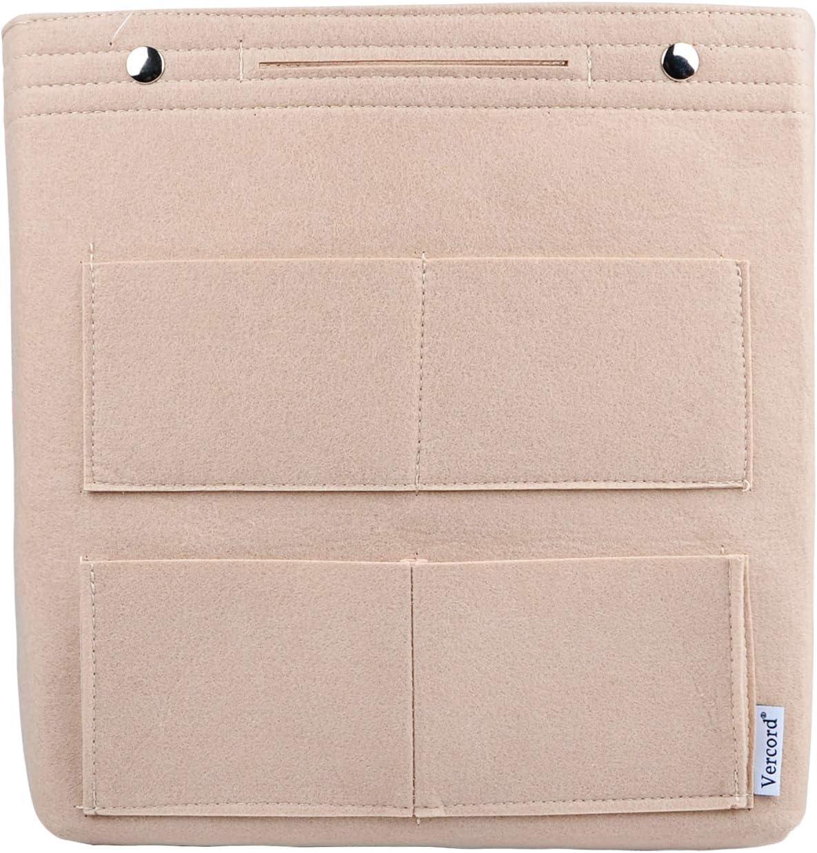 Vercord Felt Tall Long Purse Tote Backpack Bag Insert Organizer Inside for Women Cream Beige