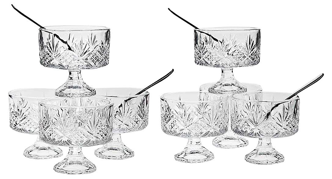 Set Of 8 High Quality Crystal Clear Glass 6 Ounce Dessert Ice Cream/Fruit Bowls, With 8 Taster Spoons, 16 -Piece Tasters Trifle Honey Tinis Dessert Bowl Set LE'raze