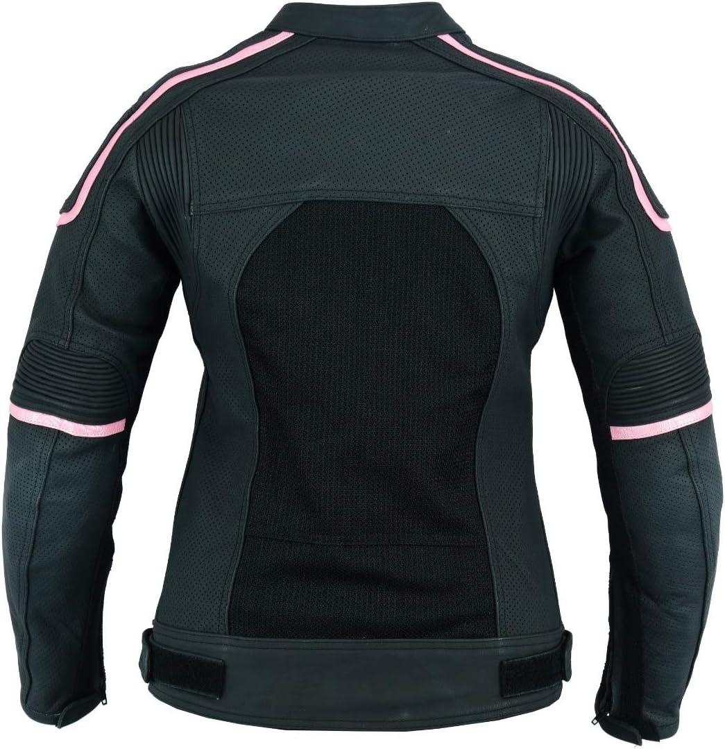 Jet Motorcycle Motorbike Jacket Womens Ladies Leather Armoured Full Grain Premium Leather Air Flow CARMEN BLK//PNK, XL