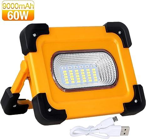 60W Solar Portable Rechargeable LED Flood Light Outdoor Garden Work Spot Lamp