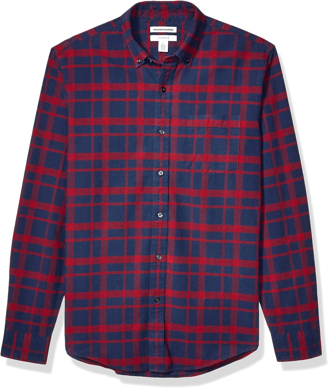 Amazon Essentials Men's Slim-Fit Long-Sleeve Pattern Pocket Oxford Shirt