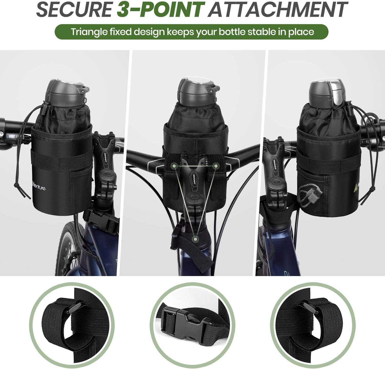 Anti-Tear Drink Holder for Bicycle,Motorcycle,Pushchair,Wheelchair Hikenture Bike Water Bottle Holder Bag Insulated Water Bottle Carrier with Side Pockets /& Straps Waterproof Cup Holder Bike Bag