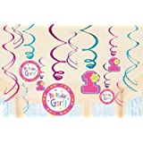 1st Birthday Girl 'Hugs and Stitches' Hanging Swirl Decorations (12pc) by Amscan