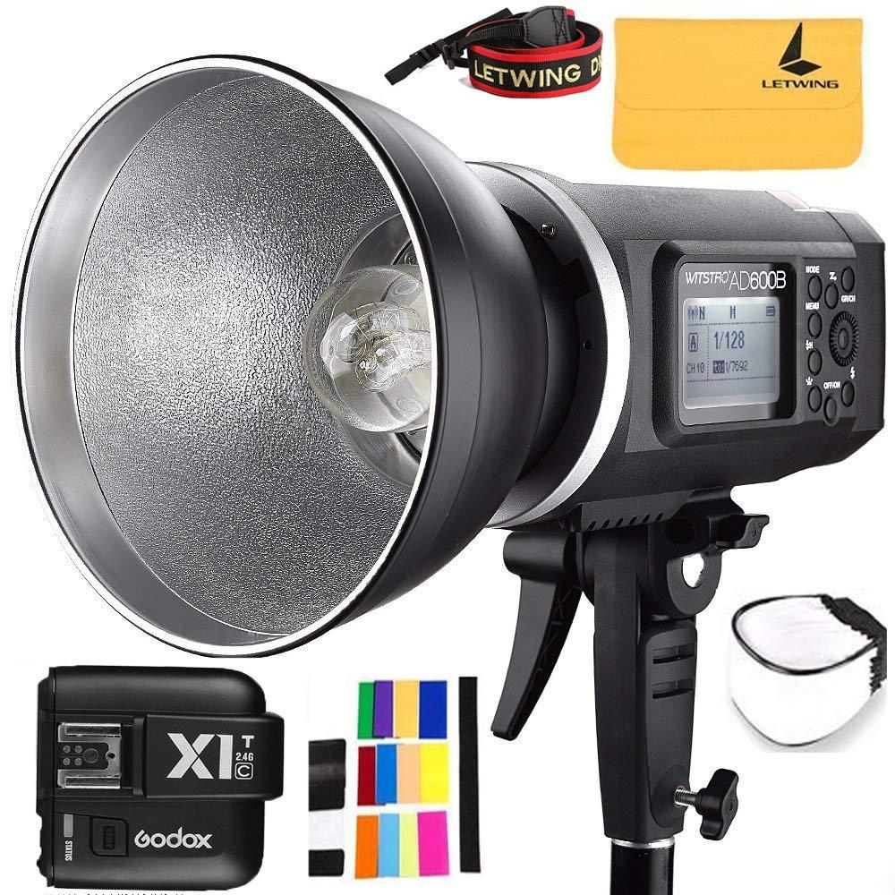 Godox AD600B TTL Bowen Mount GN87 600W HSS 1 / 8000s 2.4G Wireless 8700mAh Lithium Battery Outdoor Studio Strobe Flash,Godox X1T-C Flash Trigger for Canon EOS DSLR Camera
