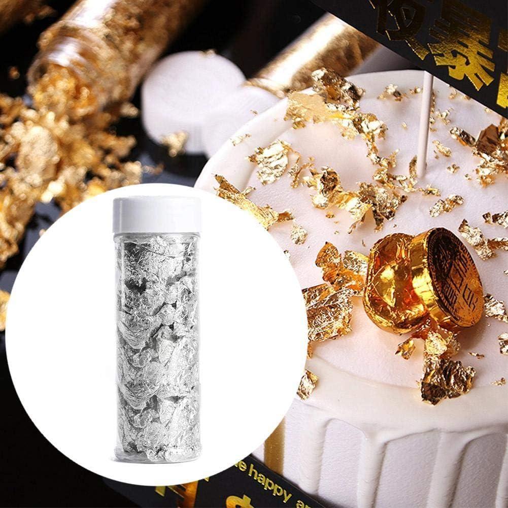 Nail Imitation Gold Silver Leaf Flakes for Arts Decoration DIY 2g Gilding Crafting