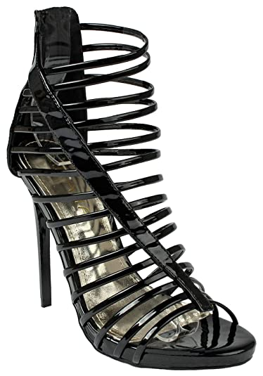 a73470ff0d6 Womens Black Landika Strappy Ankle Cuff Back Zip Gladiator Roman High Heel  Platform Sandal Shoes-