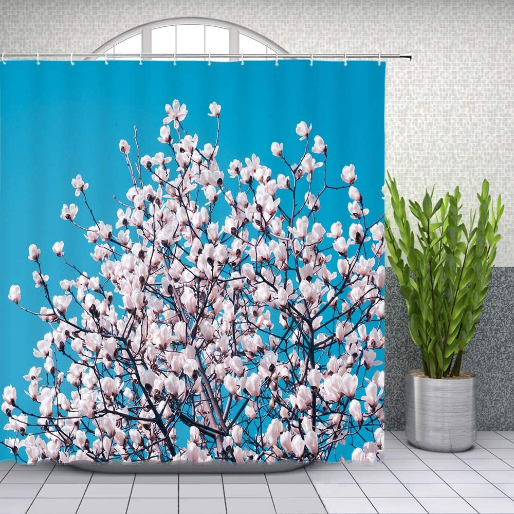 Chaoqian Ocean Beach Shower Curtains Sea Wave Blue Sky Scenery Pattern Bathroom Decor Home Bath Waterproof Polyester Fabric Curtain Set with Hooks 70 x 70 Inches