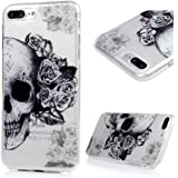 iPhone 8 plus Case, iPhone 7 plus Case - Shockproof Flexible TPU Rubber Skin Gel Bumper Case with IMD Technology Anti Color-fading Print Patterns Slim Fit Protective Cover by Badalink - Flowers/Skull