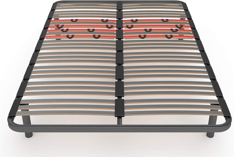 LA WEB DEL COLCHON Somier Multiláminas Regulador 150 x 180 x 5 cms. (5 Patas Incluidas)