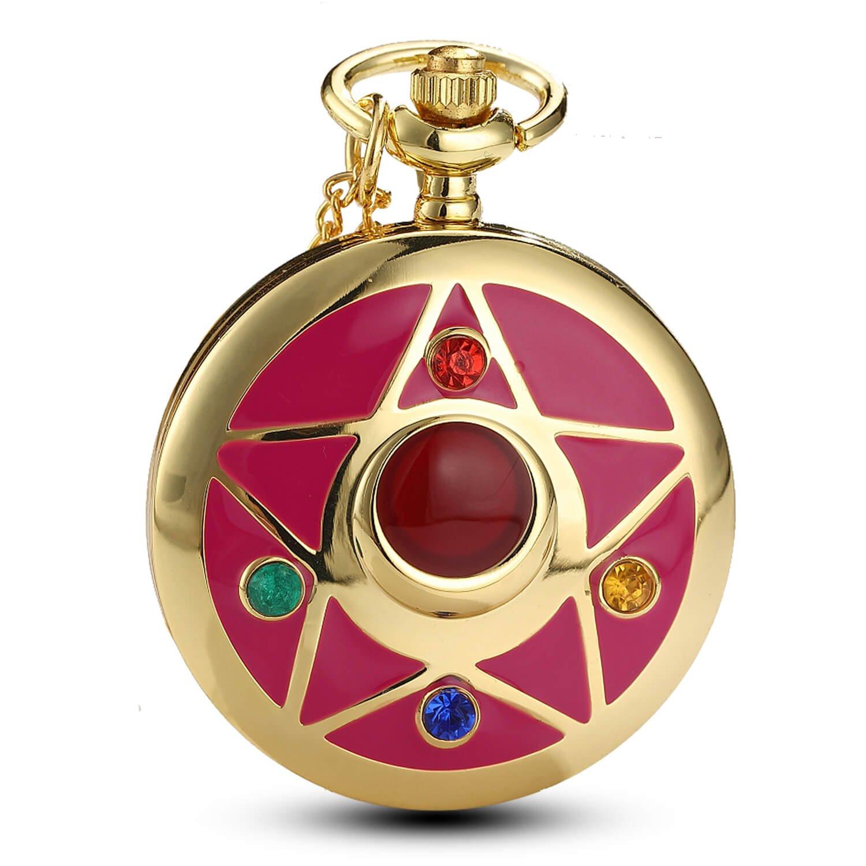 Women Gold Anime Quartz Pocket Watch Rhinestone Cartoon Star Fob Watch with Chain Gift (star)
