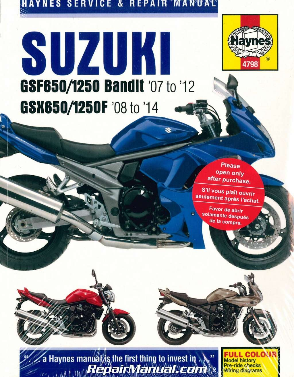 H4798 GSF650 GSF1250 Bandit / GSX650F 2007-2014 Suzuki Motorcycle Repair  Manual Haynes: Manufacturer: Amazon.com: Books