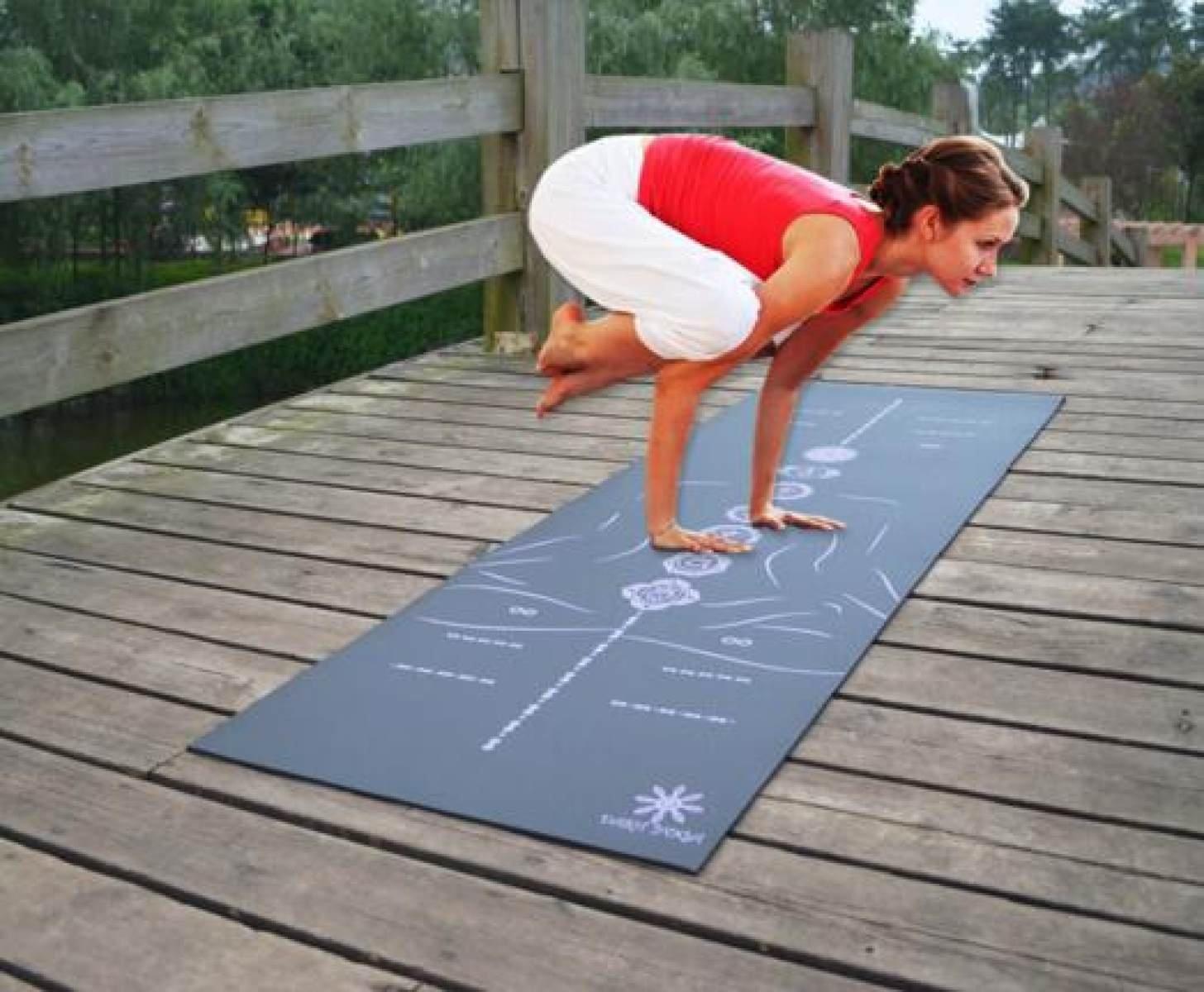 ZHANGHAOBO Yoga Mat Gummi Pad Sport Fitness Matte Rutschfeste Chakra Body Line Guide Line,A1