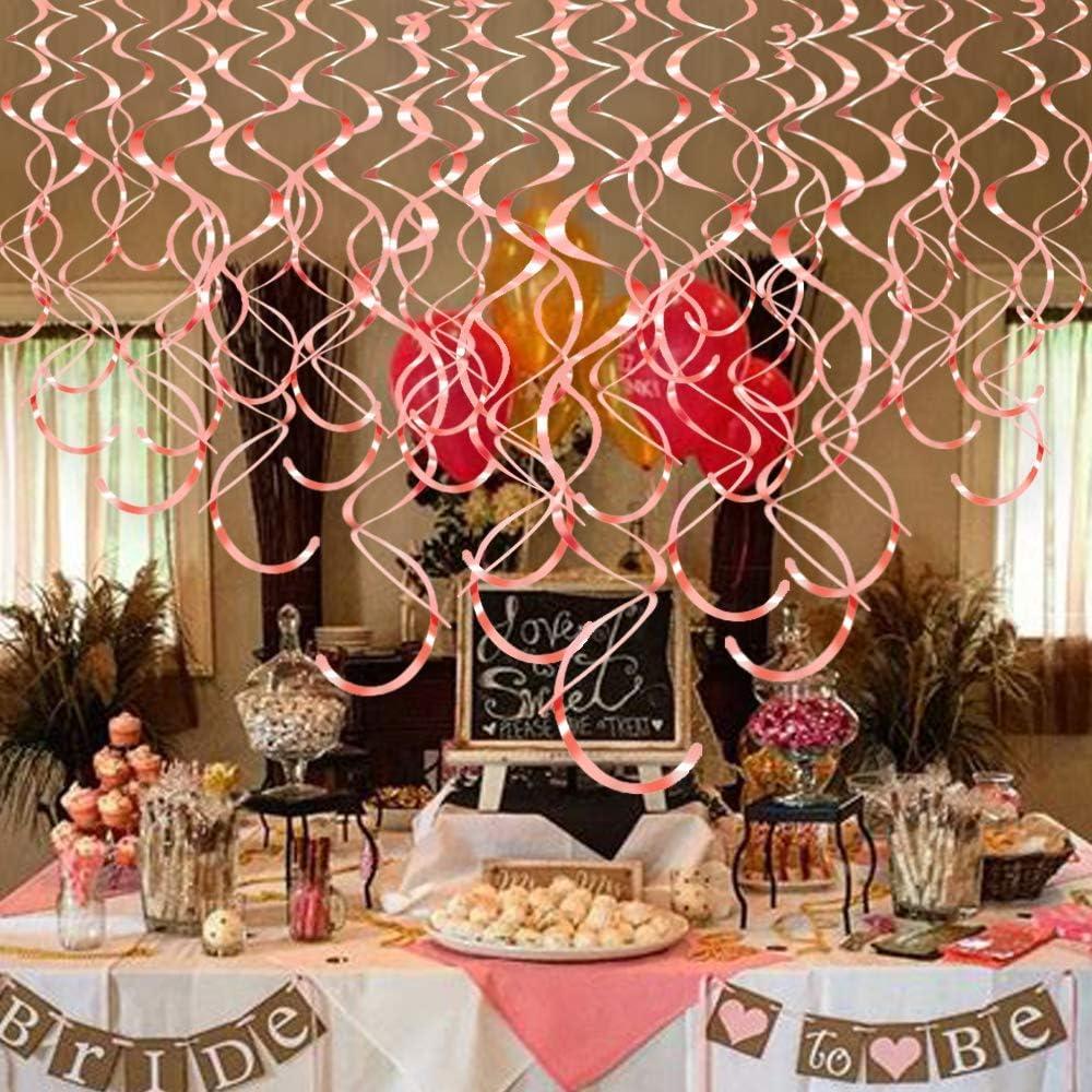 Kitchen-dream 30 Pcs Or Rose Suspendu Swirl D/écorations De F/ête et 1000 /Étoiles Confettis D/écorations pour la F/ête De Mariage Anniversaire Gar/çons Filles Adulte