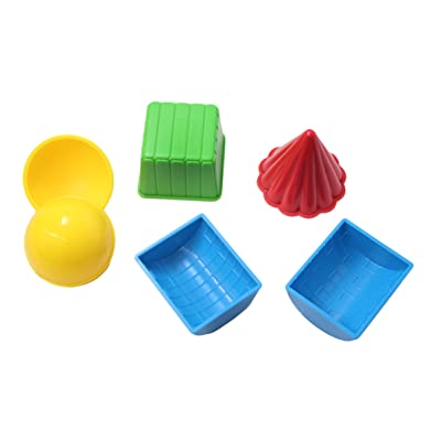 Curious Minds Busy Bags 3D Geometric Shapes - Solid Play Doh and Moving Sand Molds Sand Molds - Sand Toy, Beach Toy, Sandbox Toy, Wet Sand Sensory Bin: Toys & Games