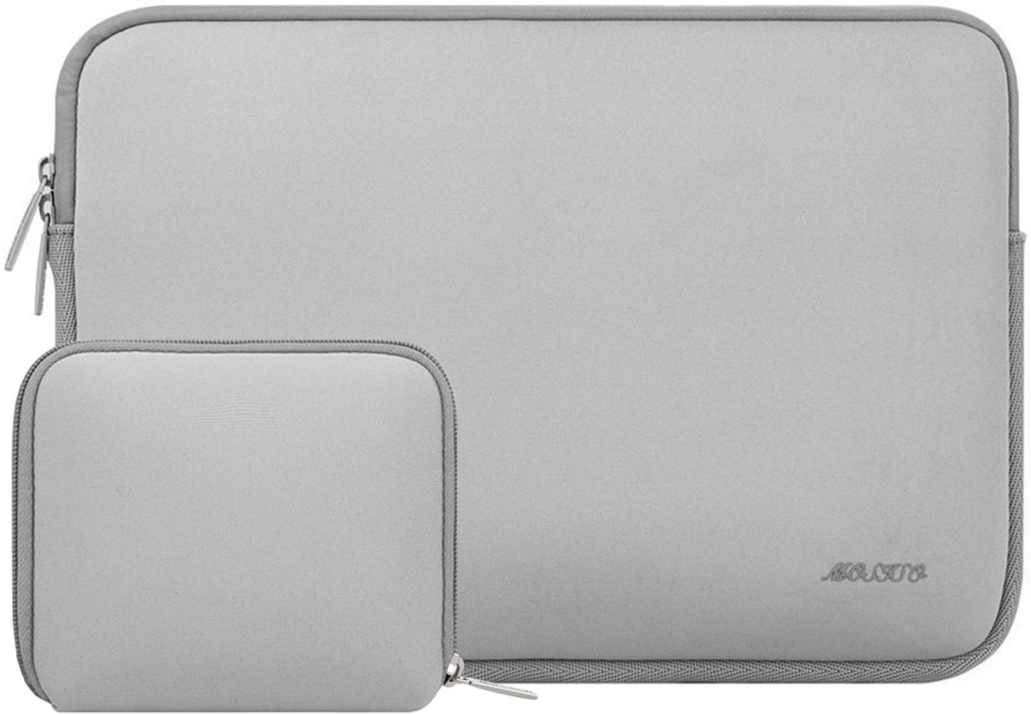 MOSISO Laptop Sleeve Compatible with 13-13.3 inch MacBook Pro, MacBook Air, Notebook Computer, Water Repellent Neoprene Bag with Small Case, Light Gray