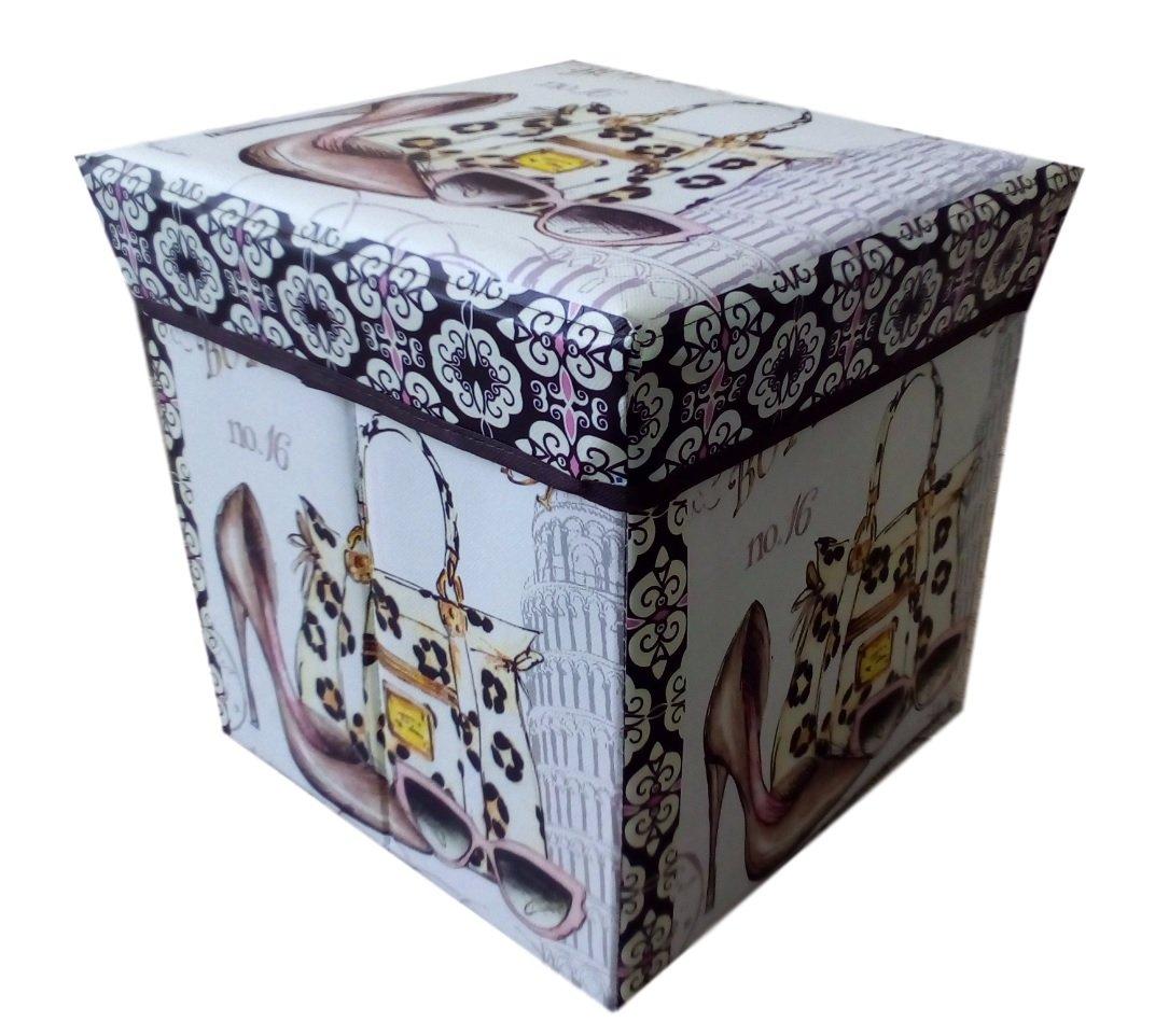 Ducomi Europuff - Pouf Pieghevole in Ecopelle per Interni e Arredamento - Poltrona Componibile, Contenitore e Appoggia Piedi - Dim: 31 x 31 x 31 cm (Big Ben)