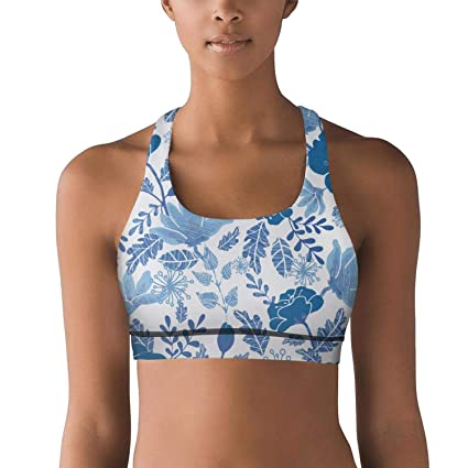 99250f30e1 Amazon.com  Gustaix Zimund Women s Racerback Sport Bra Blue Spring Mini  Peony Flowers Bra for Yoga Gym Running Fitness  Sports   Outdoors