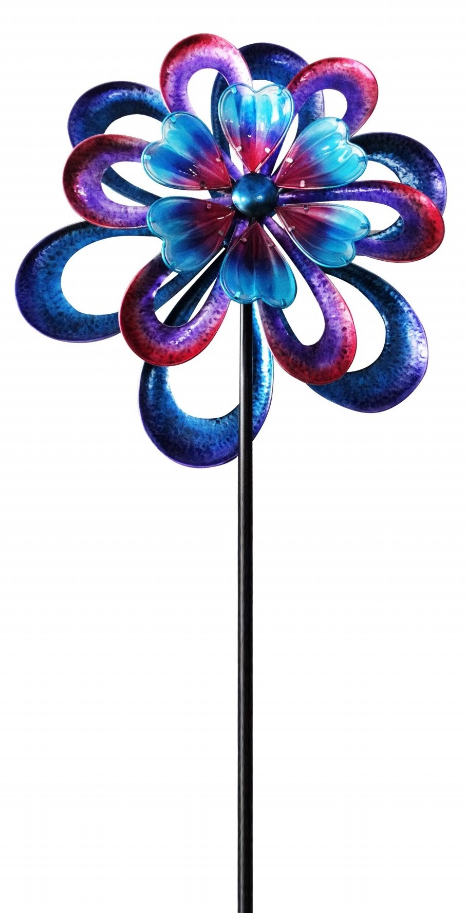 Alpine Corporation KPP428 Metal Round Flower Spinning Garden Stake