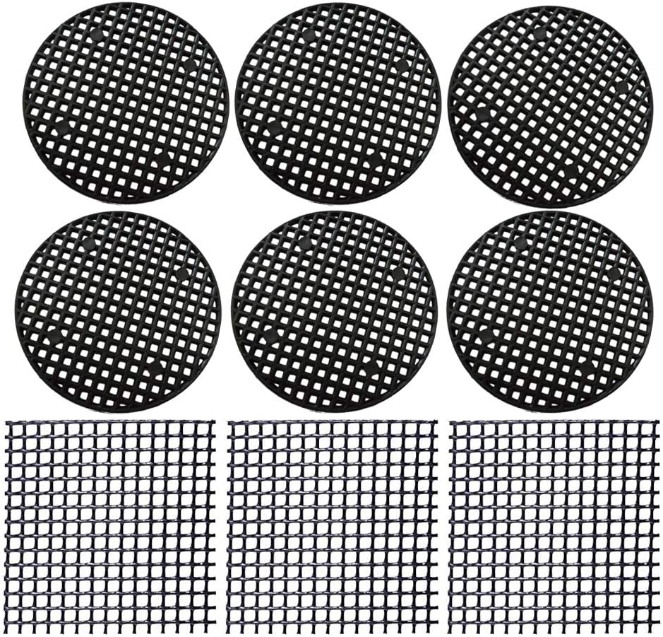 Flower Pot Hole Mesh Pads 128 PCS Plastic Mesh Screen - 108 PCS 4.6cm Round Bonsai Bottom Grid Mat and 20 PCS 5x5cm Square Rigid Polyethylene Garden's Drainage Mesh Hole Screens Prevent (128PCS,Mixed)