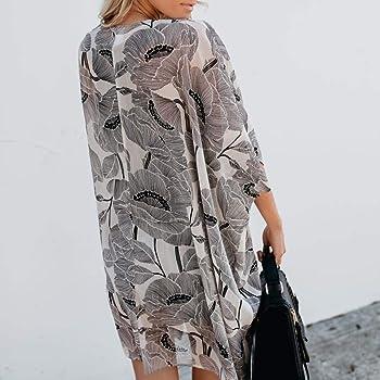 Clearance Printed Long Blouse Cardigan Duseedik Women Fashion Chiffon Coat Tops Suit Bikini Swimwear