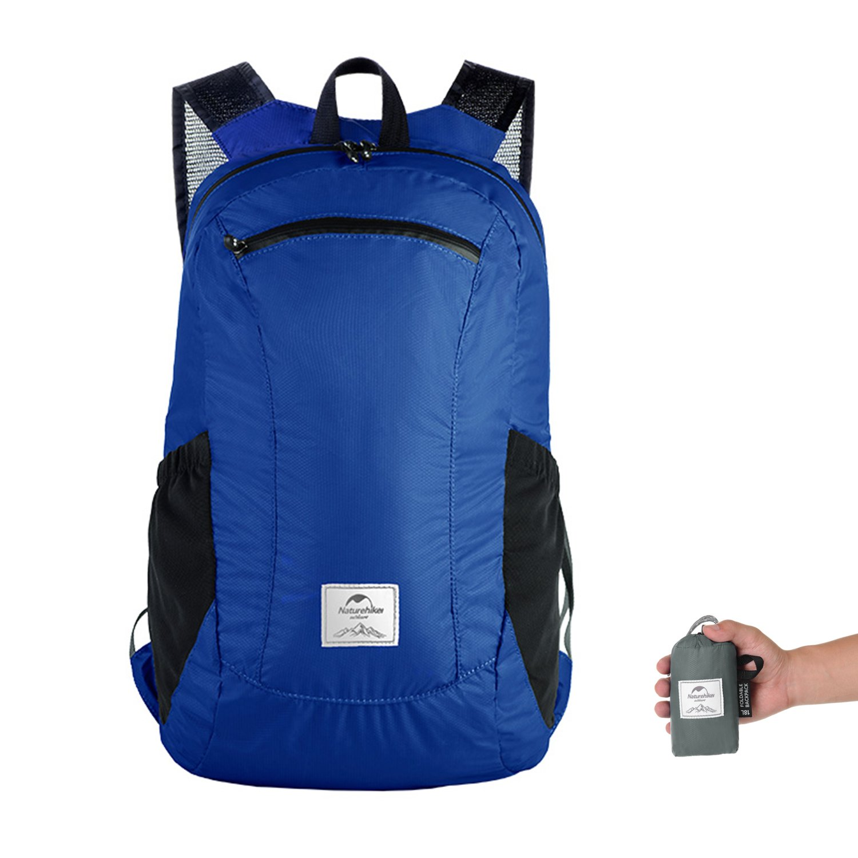Faltbare Rucksack Ultraleicht Wasserdicht Wandern Daypack von Naturehike, Kleiner Rucksack Dauerhaft Handliche Faltbare Tagesrucksack für Klettern Camping Rucksack Radfahren Reisen Jugend (Blau) TOPNACA