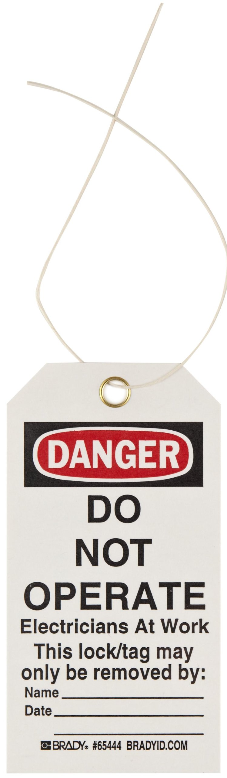 Brady''Danger - Do Not Operate - Electricians at Work - Only the Individual.'' Tag, Cardstock, 5-3/4'' Height, 3'' Width (Pack of 25)
