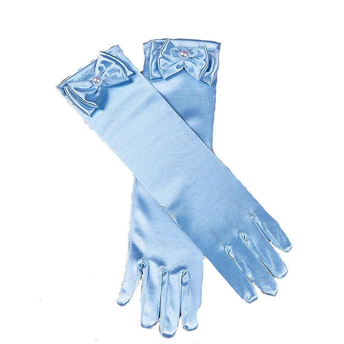 Cinda Girls Holy Communion Flower Girl Gloves in 11 Colours 4-8 Years dark blue