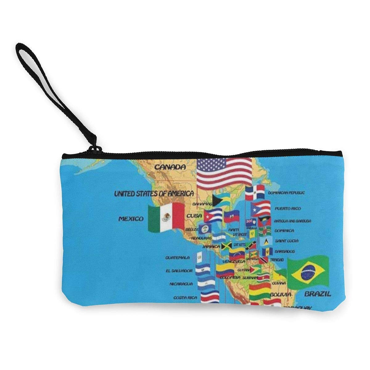 Coin Purse Map of North America Ladies Zipper Canvas Wallets ChangeSpecial Holder