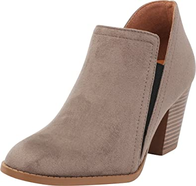 c0e128f85a8a Cambridge Select Women s Closed Round Toe Side V Cutout Stretch Chunky  Stacked Heel Shootie Ankle Bootie