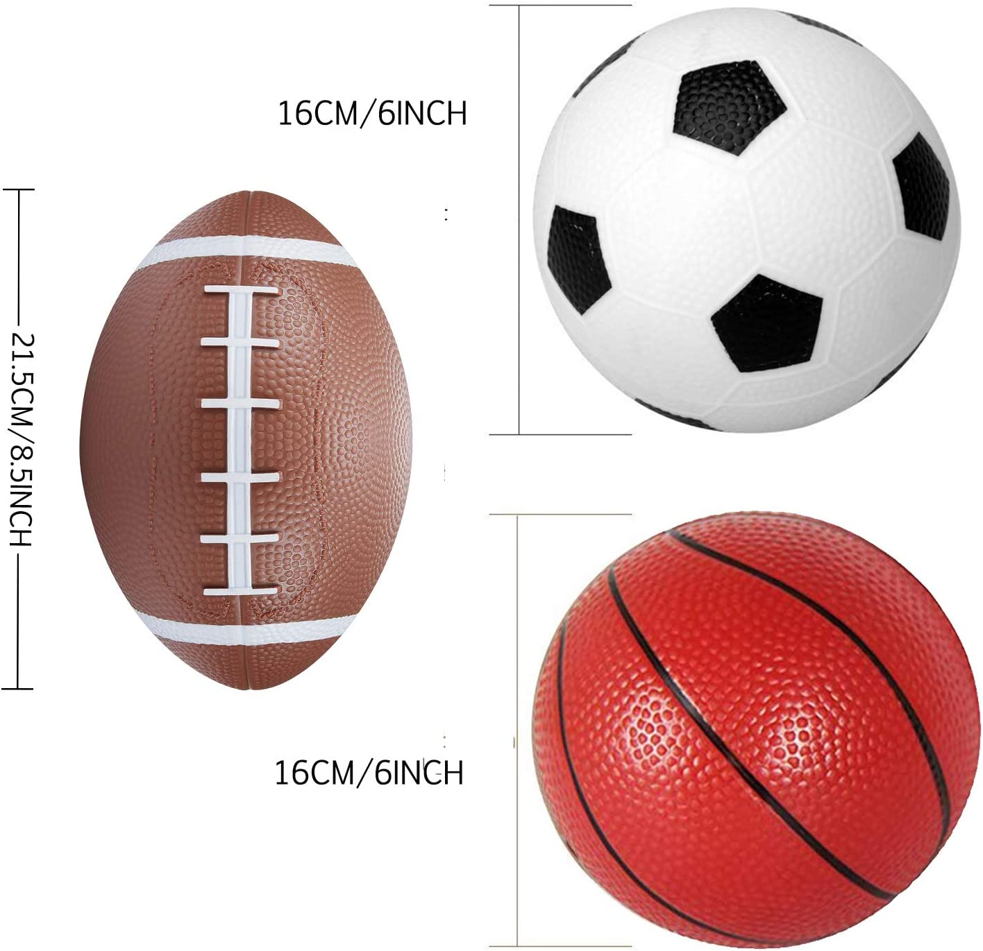Sports Balls Set With 6Soccer 6Basketball 8.5Rugby 3baseballs Indoor Outdoor Office Playground Beach Games For Pool Door Basketballs Hoops Boys Girls Kids Toddlers Adults With Air Pump 4 PACK