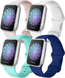 QIENGO 4 Pack Sport Bands Compatible with Apple Watch Band 38mm 40mm 42mm 44mm, Soft Silicone Replacement Strap Compatible with iWatch Series 6/5/4/3/2/1 SE